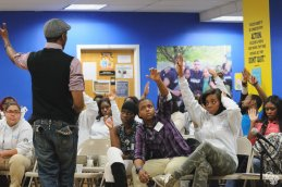 Akeem Lloyd presented and engaged the youth.